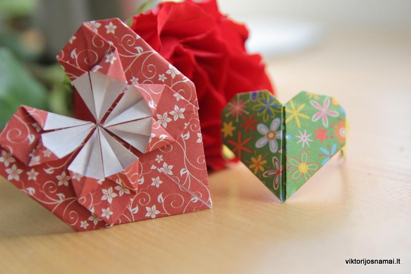 Širdelės iš popieriaus (Origami)